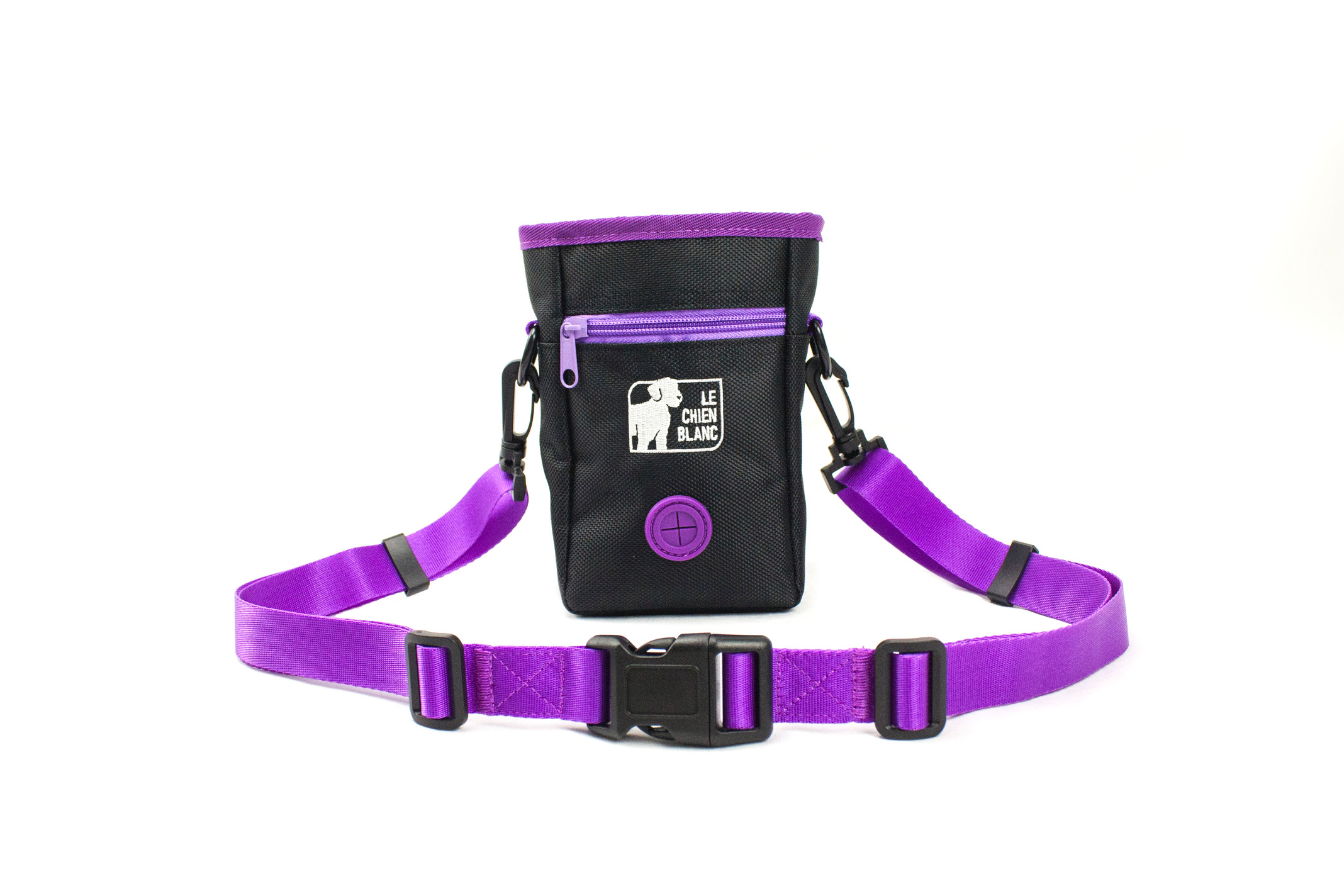 Dog treat bag volt le chien blanc purple